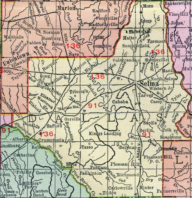 Dallas County Alabama Map 1911 Selma Orrville Burnsville