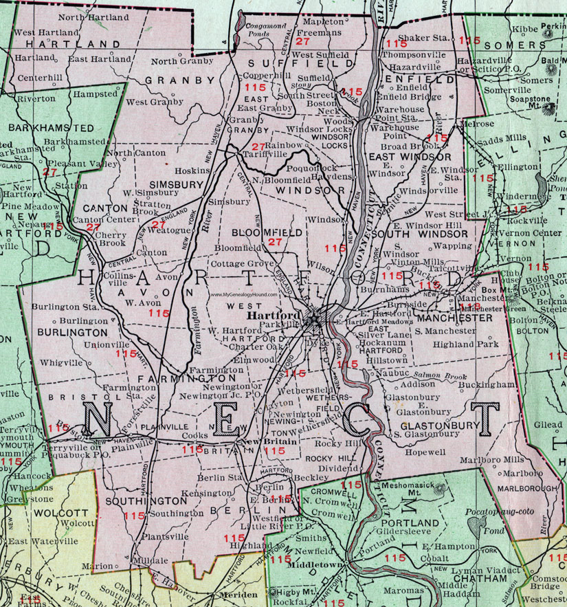 Hartford County, Connecticut, 1911, Map, Rand McNally, Bristol, New ...