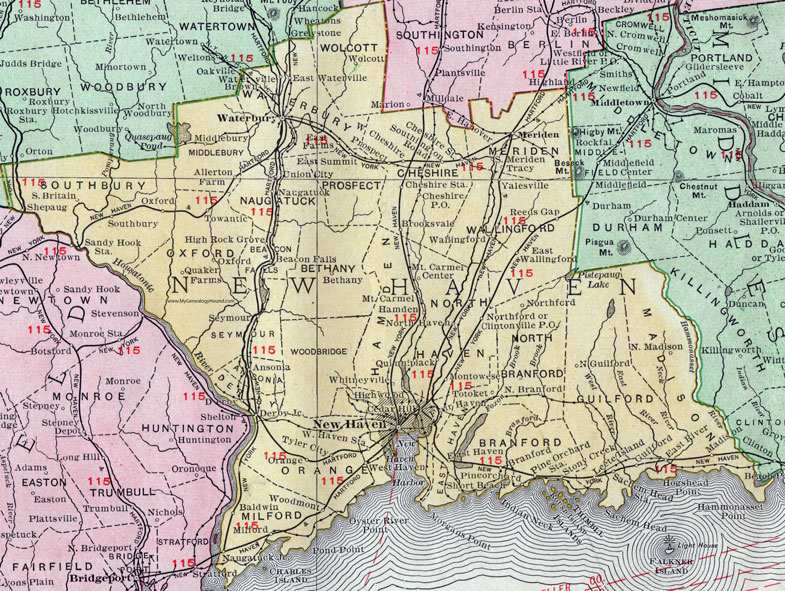 New Haven County, Connecticut, 1911, Map, Rand McNally, Waterbury ...