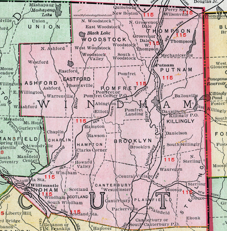 Windham County, Connecticut, 1911, Map, Rand McNally, Willimantic ...