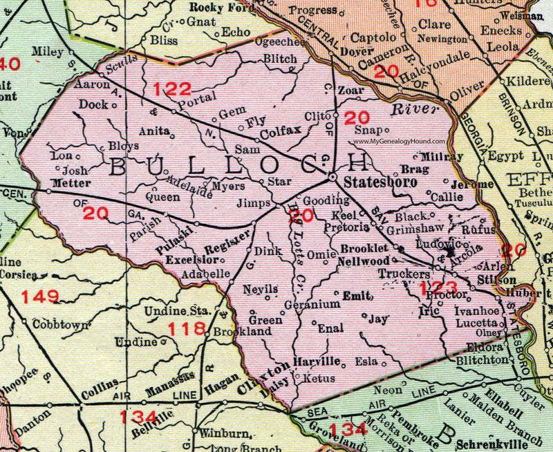 Bulloch County Georgia Map Rand McNally Statesboro - Georgia map statesboro