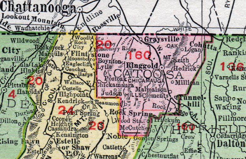 Catoosa County Georgia Map Rand McNally Ringgold - Ga county maps