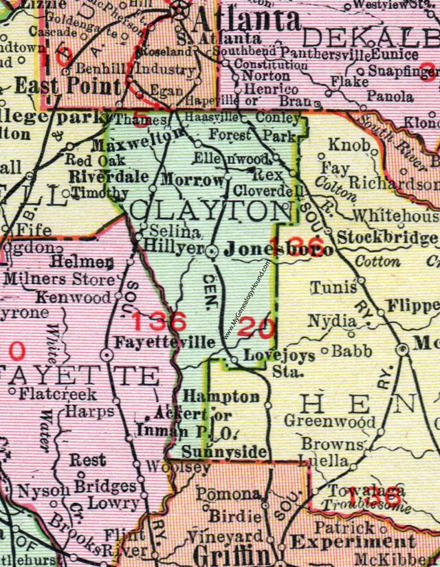 Map Of Jonesboro Georgia.Clayton County Georgia 1911 Map Rand Mcnally Jonesboro Forest