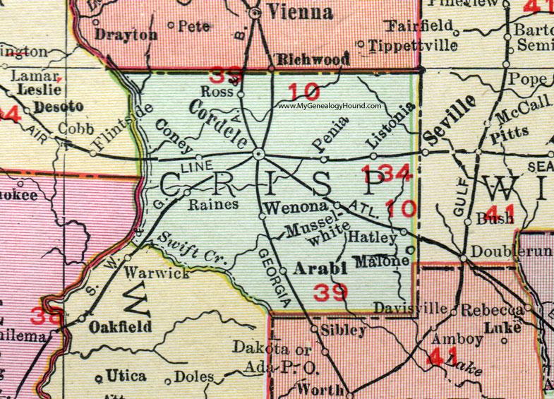 Crisp County, Georgia, 1911, Map, Rand McNally, Cordele ... on chatt hills ga map, mayfield ga map, valdosta ga map, doctortown ga map, lagrange ga map, tifton ga map, whitewater ga map, alexander city ga map, shawnee ga map, ty ty ga map, florence ga map, st. marys ga map, cusseta ga map, newberry ga map, north druid hills ga map, hapeville ga map, gainesville ga map, bloomington ga map, meridian ga map, newton ga map,