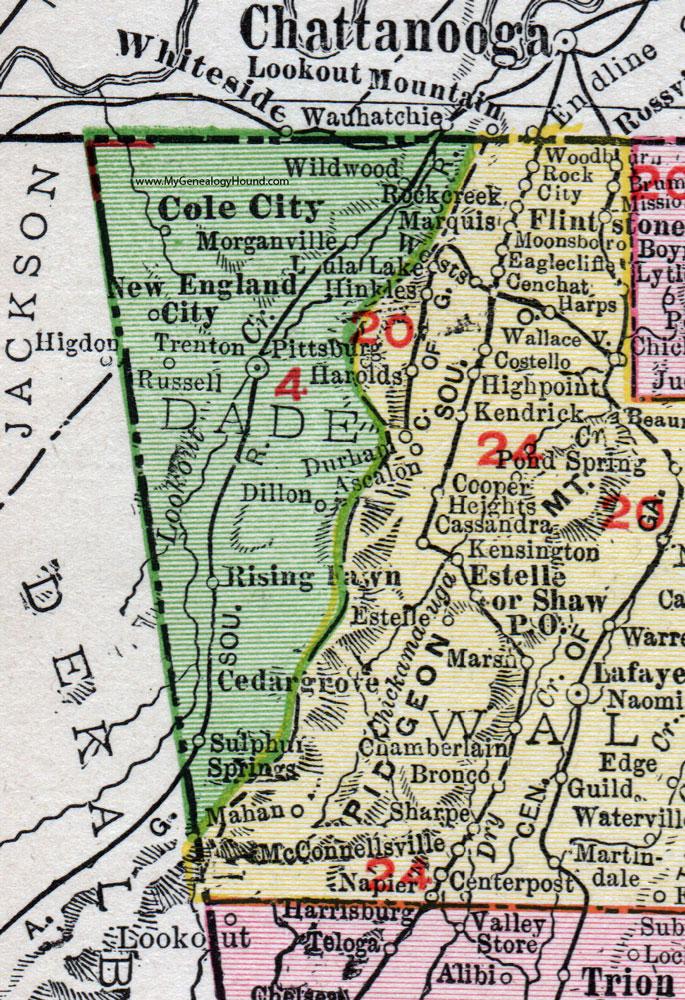 Dade County Georgia 1911 Map Rand Mcnally Trenton Rising Fawn