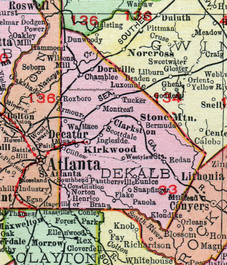 Dekalb County Georgia 1911 Map Rand Mcnally Decatur Dunwoody