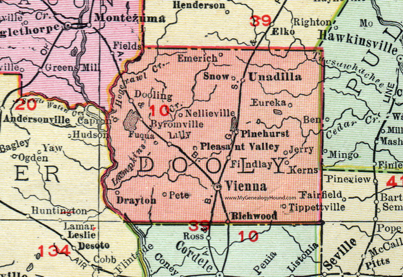 Map Of Vienna Georgia.Dooly County Georgia 1911 Map Rand Mcnally Vienna Unadilla
