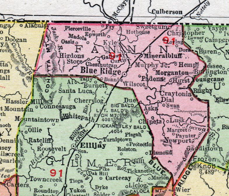 Fannin County Georgia 1911 Map Rand McNally Blue Ridge Epworth