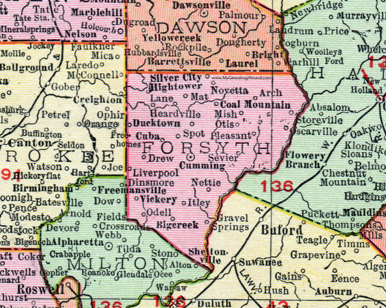 Map Of Georgia By County.Forsyth County Georgia 1911 Map Rand Mcnally Cumming Coal