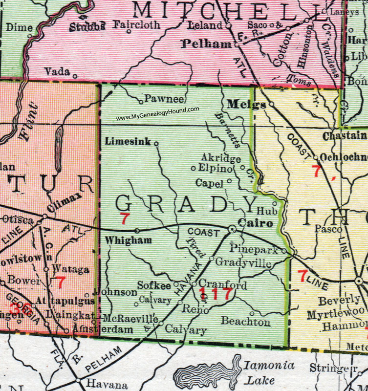 Map Of Cairo Georgia.Grady County Georgia 1911 Map Rand Mcnally Cairo