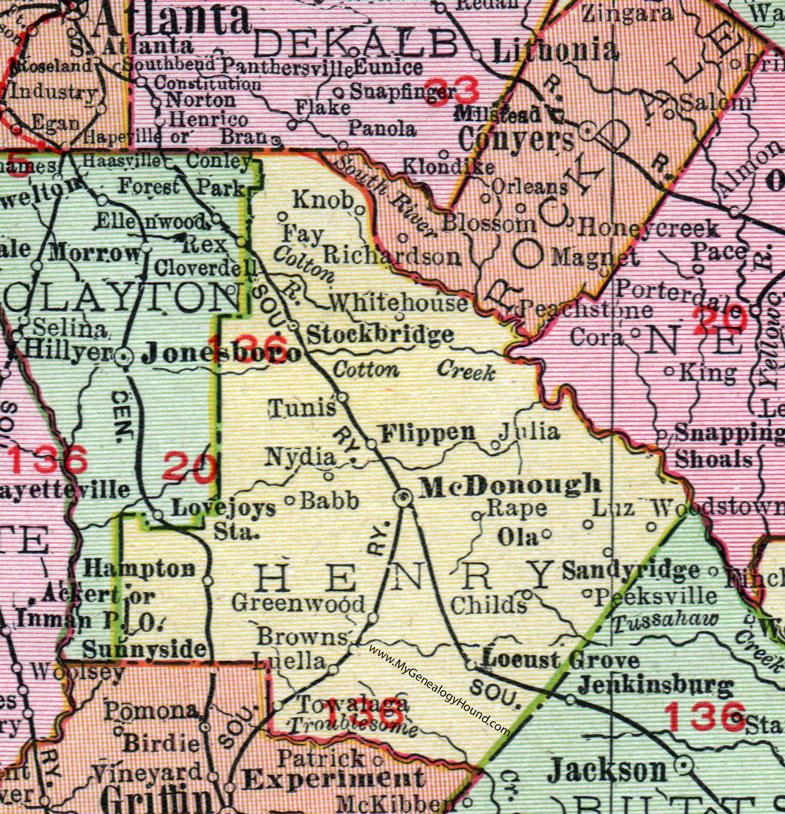 Henry County Georgia 1911 Map Mcdonough Stockbridge Flippen