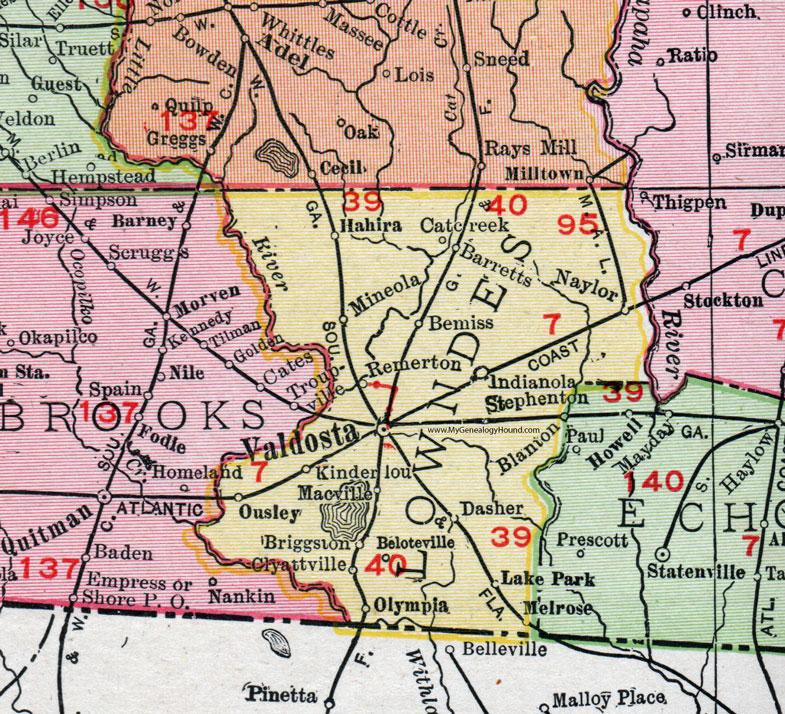 Lowndes County Georgia 1911 Map Rand Mcnally Valdosta Hahira
