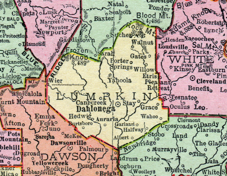 Lumpkin County Georgia 1911 Map Rand Mcnally Dahlonega