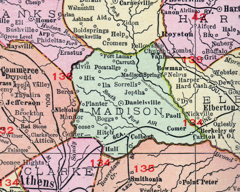 Madison County, Georgia, 1911, Map, Danielsville, Colbert ... on barton county ga map, jenkins county ga map, charleston county ga map, social circle county ga map, eden county ga map, section ga map, north forsyth ga map, missouri county map, jeff davis county ga map, athens clarke county georgia map, danielsville ga map, hartselle ga map, irwin county ga map, hull ga map, blue mountain ga map, cherokee county georgia gold mine map, grayson county ga map, union county ga map, pierce ga map, madison co ga map,