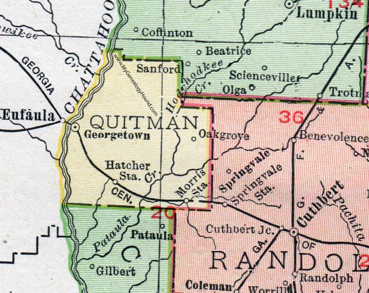 Map Of Quitman Ga.Quitman County Georgia 1911 Map Georgetown Hatcher Station
