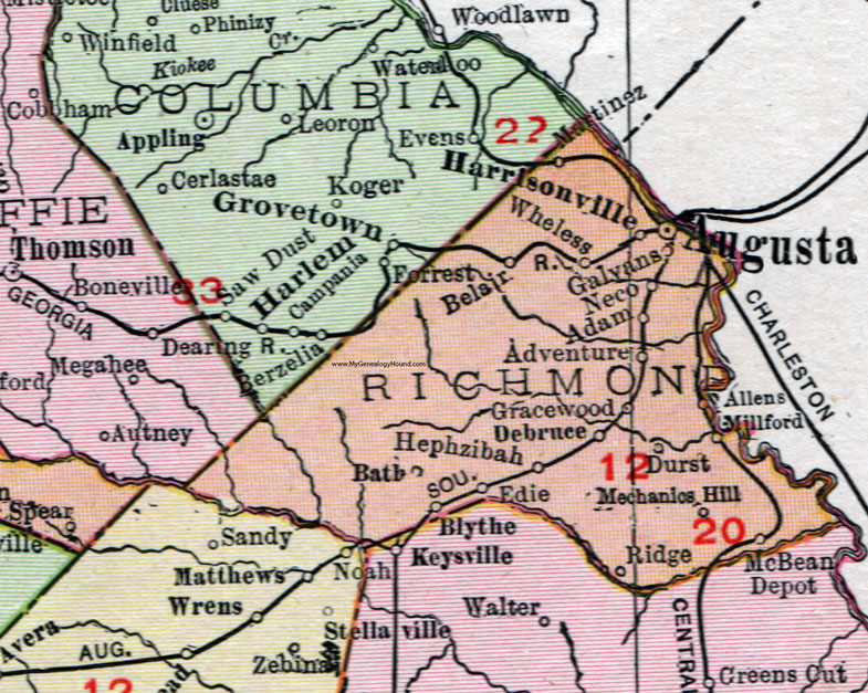 Richmond County Georgia 1911 Map Rand Mcnally Augusta