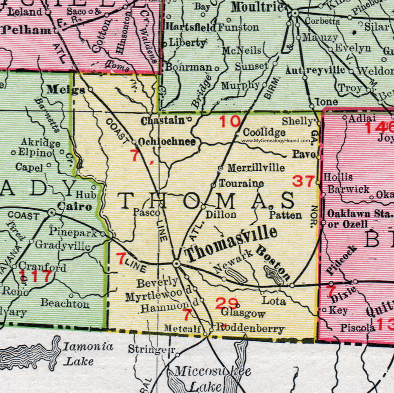 Thomas County Georgia 1911 Map Rand Mcnally Thomasville Boston