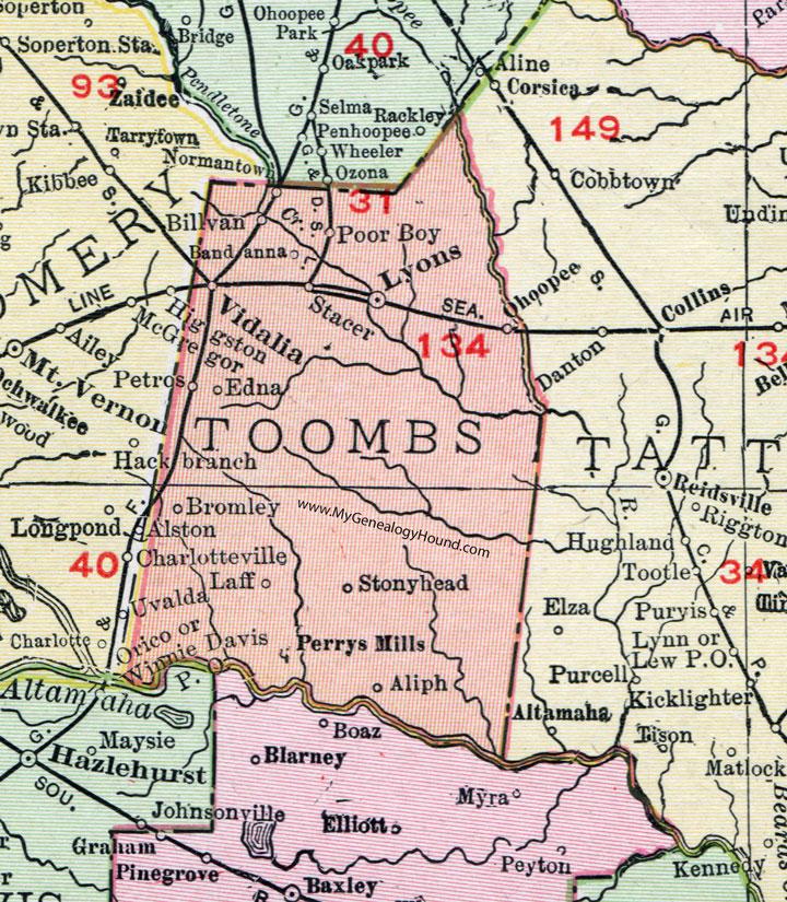Toombs County, Georgia, 1911, Map, Vidalia, Lyons, Bromley ... on