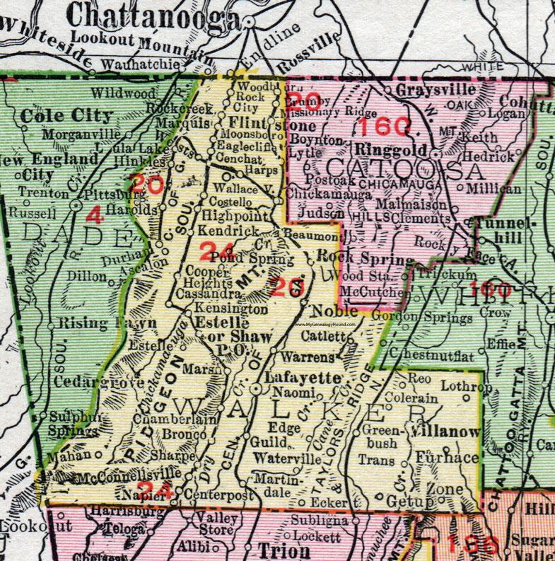 Walker County Georgia 1911 Map Rand Mcnally Lafayette