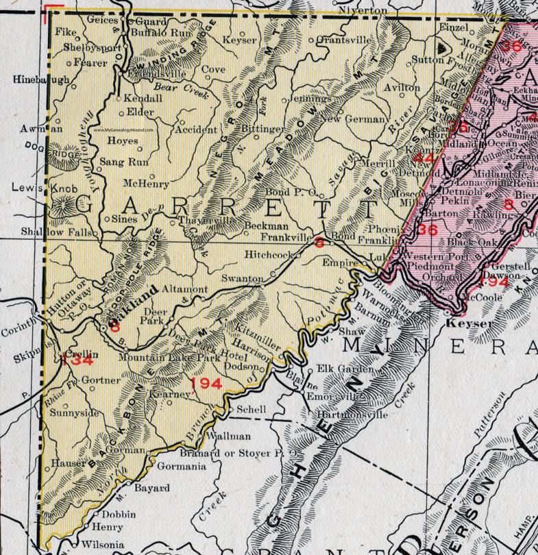 map of garrett county maryland Garrett County Maryland Map 1911 Rand Mcnally Oakland map of garrett county maryland