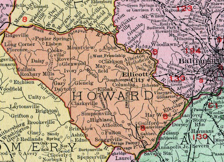 Howard County Maryland Map 1911 Rand McNally Ellicott City