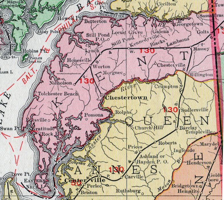 Kent County Maryland Map 1911 Rand McNally Chestertown Pomona