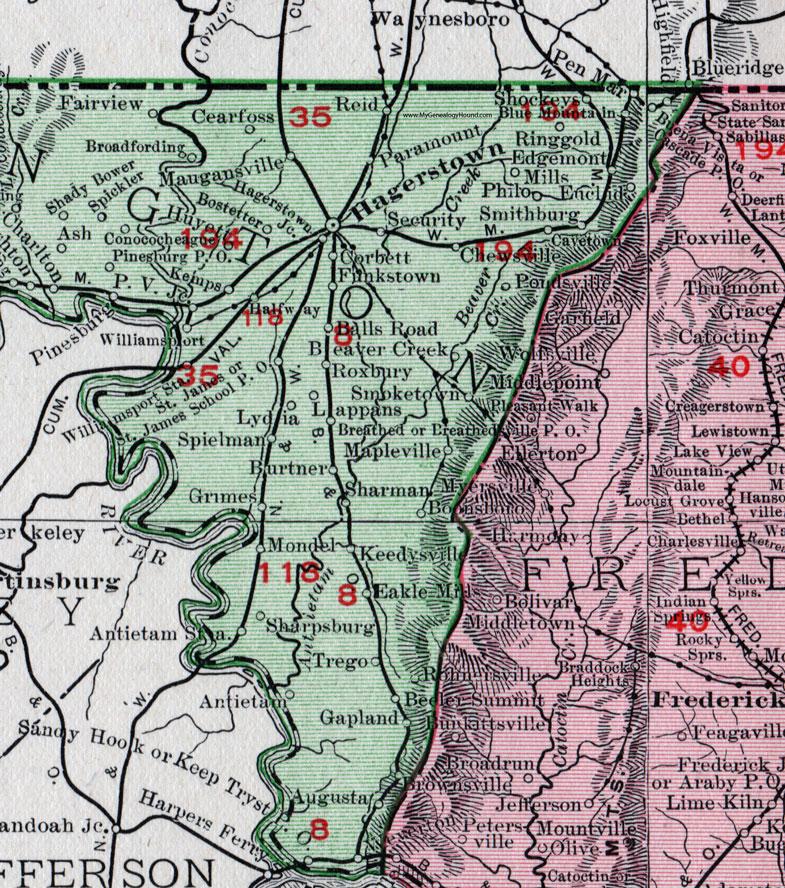 The eastern half of Washington County Maryland