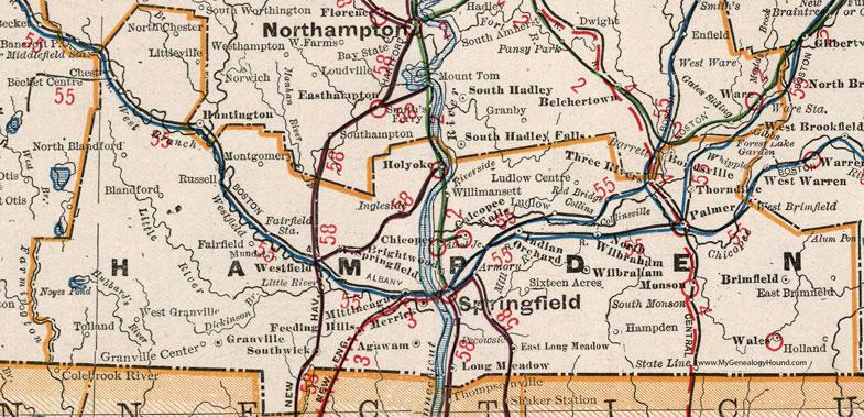 Hampden County Massachusetts 1901 Map Cram Springfield Palmer