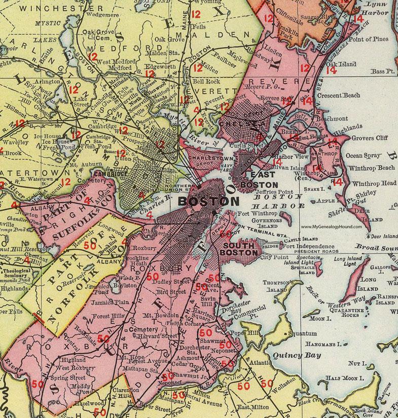 Suffolk County Massachusetts 1903 Map Rand McNally Boston