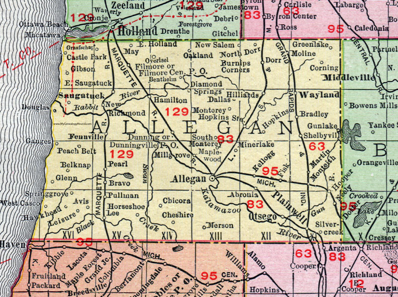 Allegan County, Michigan, 1911, Map, Rand McNally, Otsego