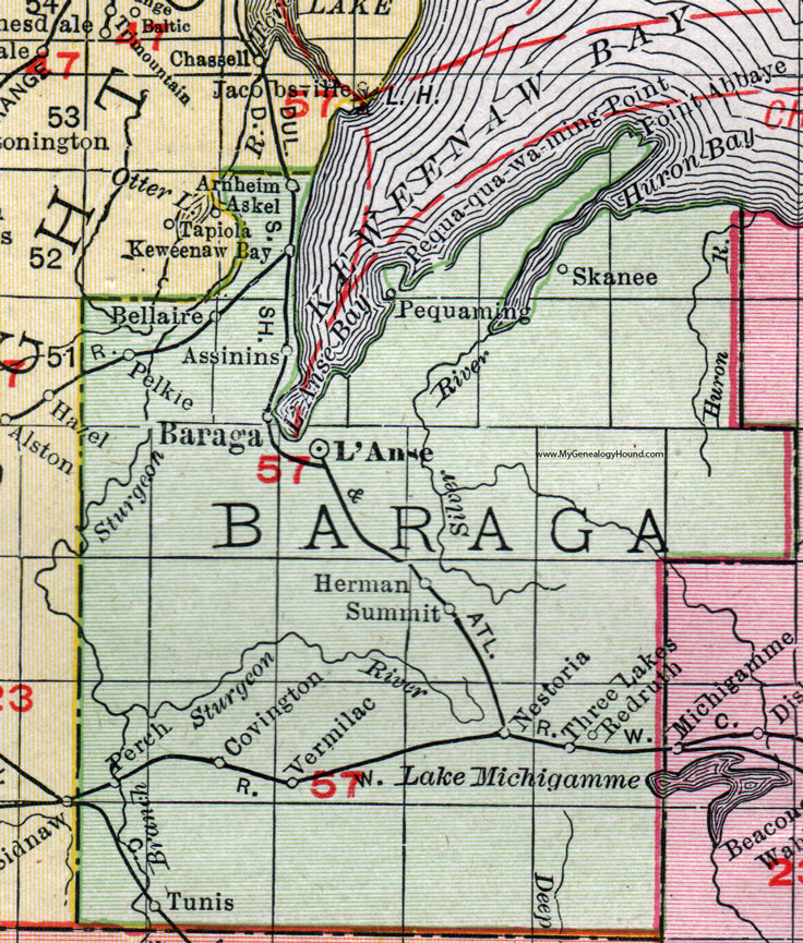 Baraga County, Michigan, 1911, Map, Rand McNally, L'Anse