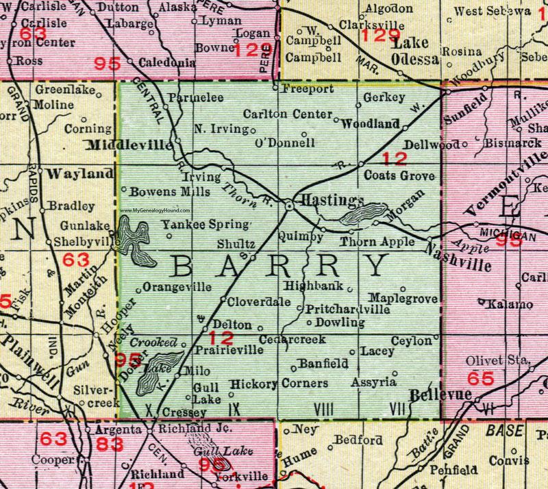 Barry County Michigan 1911 Map Rand Mcnally Hastings Nashville