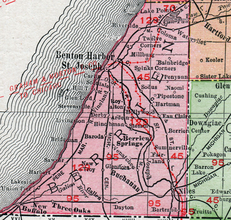 Berrien County, Michigan, 1911, Map, Rand McNally, St. Joseph