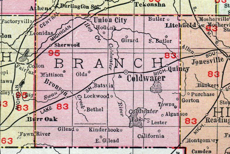 Branch County Michigan 1911 Map Rand Mcnally Coldwater Bronson