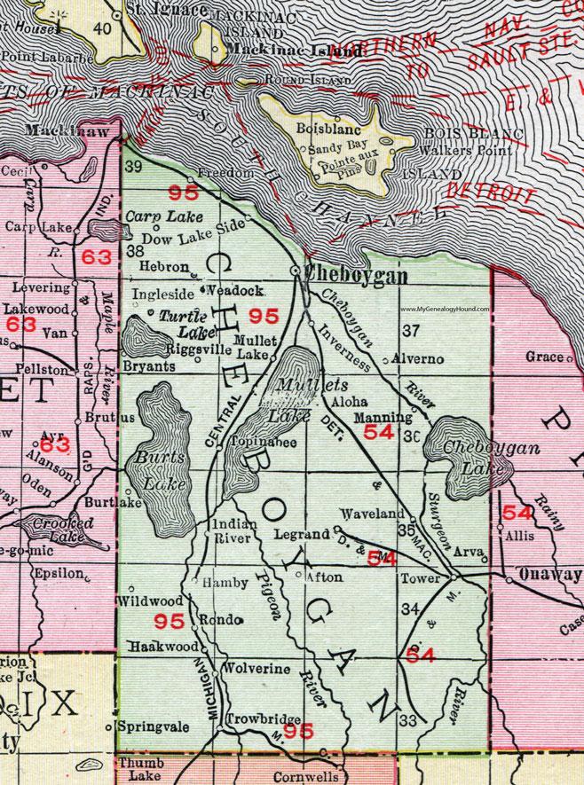 Cheboygan County Michigan 1911 Map Rand Mcnally Indian River