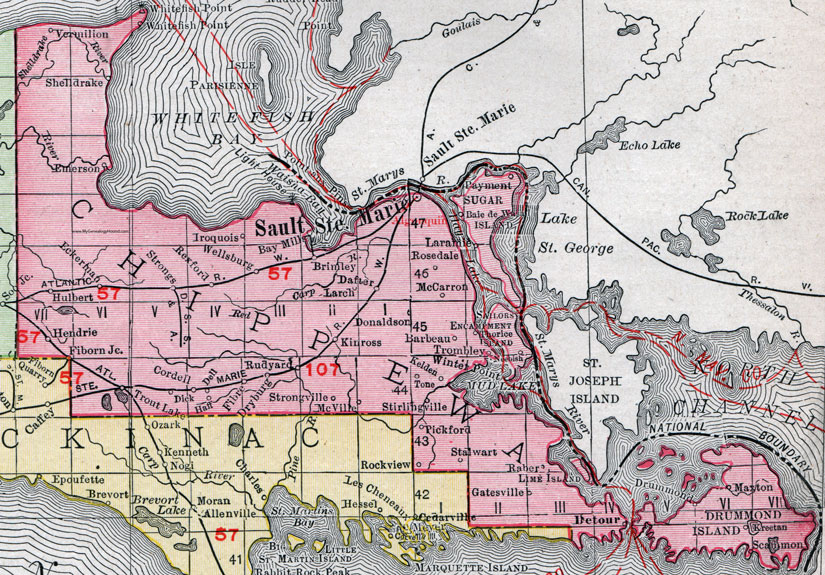 Chippewa County, Michigan, 1911, Map, Rand McNally, Sault Ste. Marie on