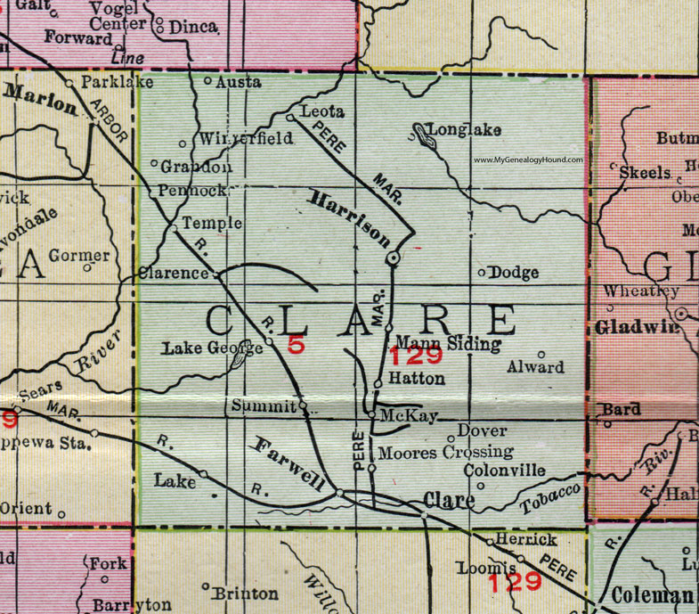 Clare County, Michigan, 1911, Map, Rand McNally, Harrison, Farwell