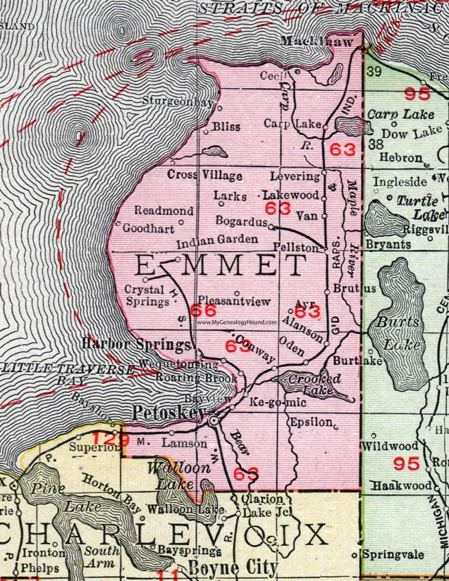 Emmet County Michigan 1911 Map Rand Mcnally Petoskey Mackinaw