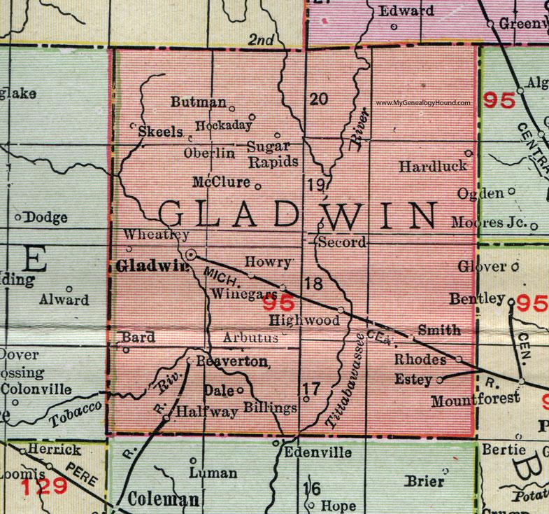 Gladwin County Michigan 1911 Map Rand McNally Beaverton Rhodes