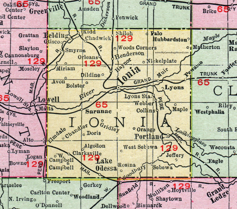 Ionia County, Michigan, 1911, Map, Rand McNally, Portland, Belding