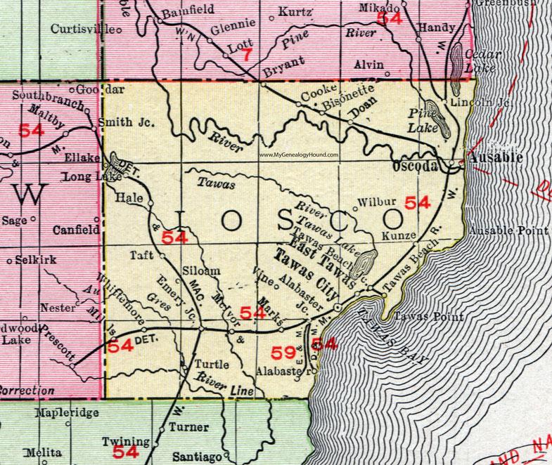 Iosco County Michigan 1911 Map Rand Mcnally Tawas City East