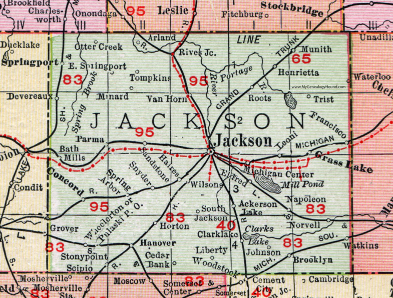 Spring Arbor Michigan Map.Jackson County Michigan 1911 Map Rand Mcnally Michigan Center