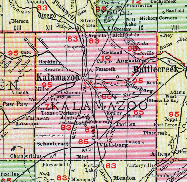 Kalamazoo County Michigan 1911 Map Rand McNally Comstock
