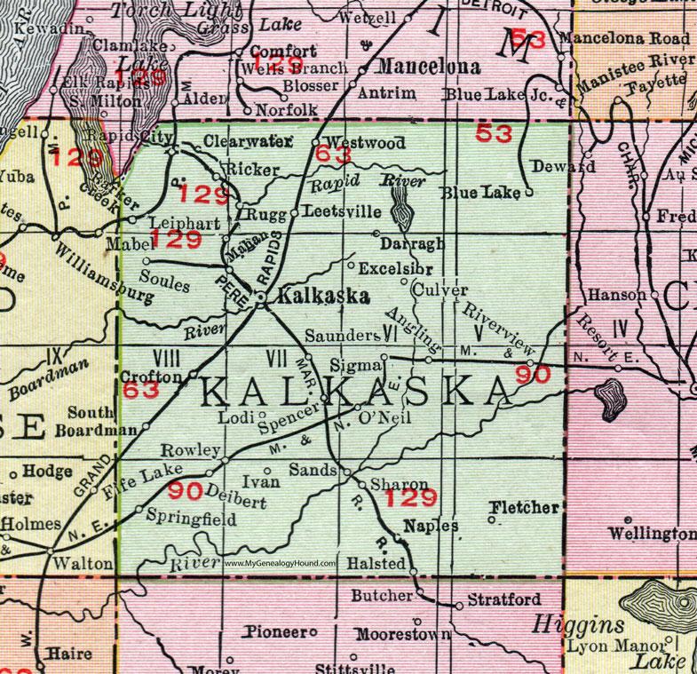Kalkaska County Michigan Map Rand McNally Rapid City - County map of michigan with cities