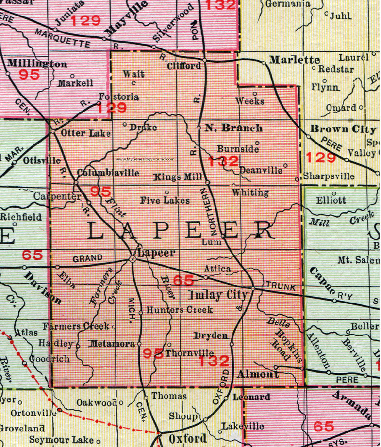 Lapeer County Michigan Map Rand McNally Imlay City - County map of michigan with cities