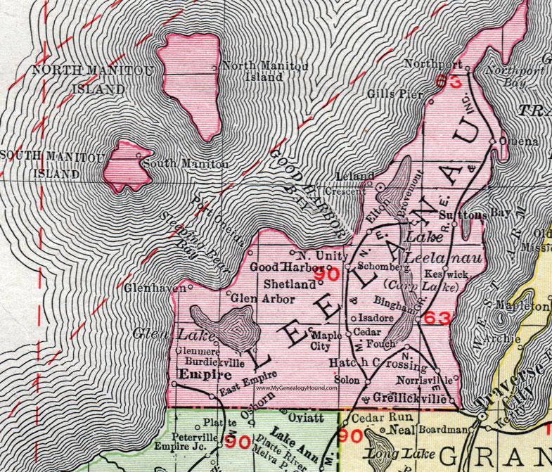 Leelanau County Michigan 1911 Map Rand Mcnally Empire Leland