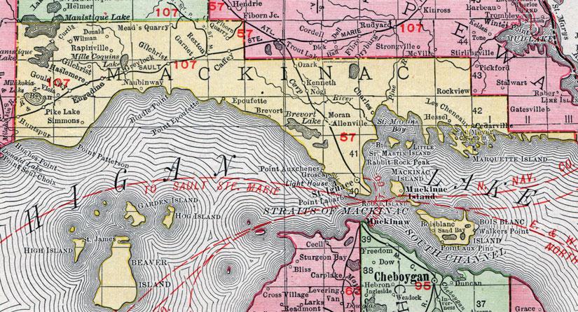 Mackinac County Michigan 1911 Map Rand Mcnally Saint Ignace