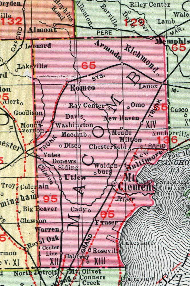Macomb County Michigan 1911 Map Rand Mcnally Mount Clemens