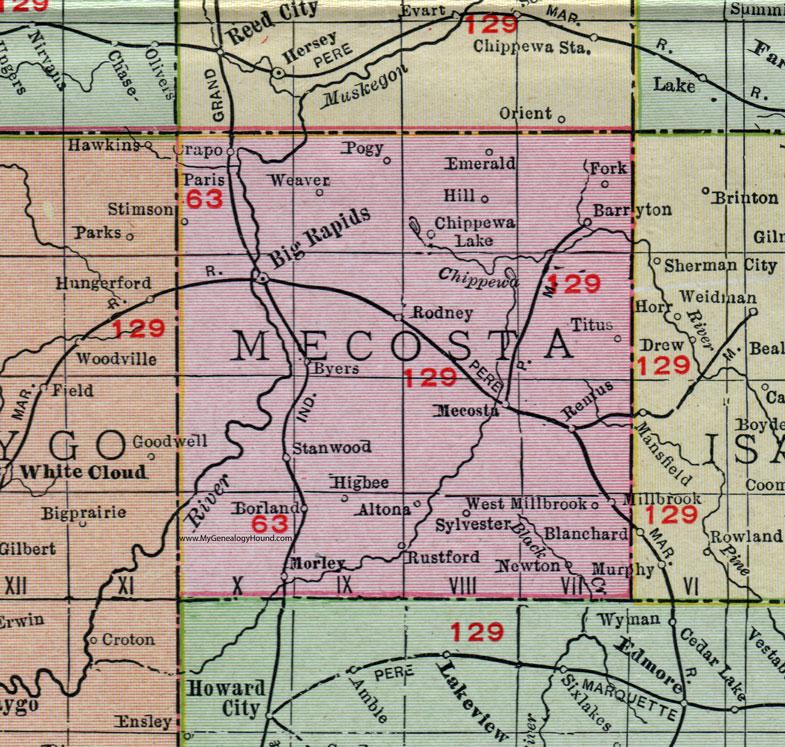 Stanwood Michigan Map.Mecosta County Michigan 1911 Map Rand Mcnally Big Rapids