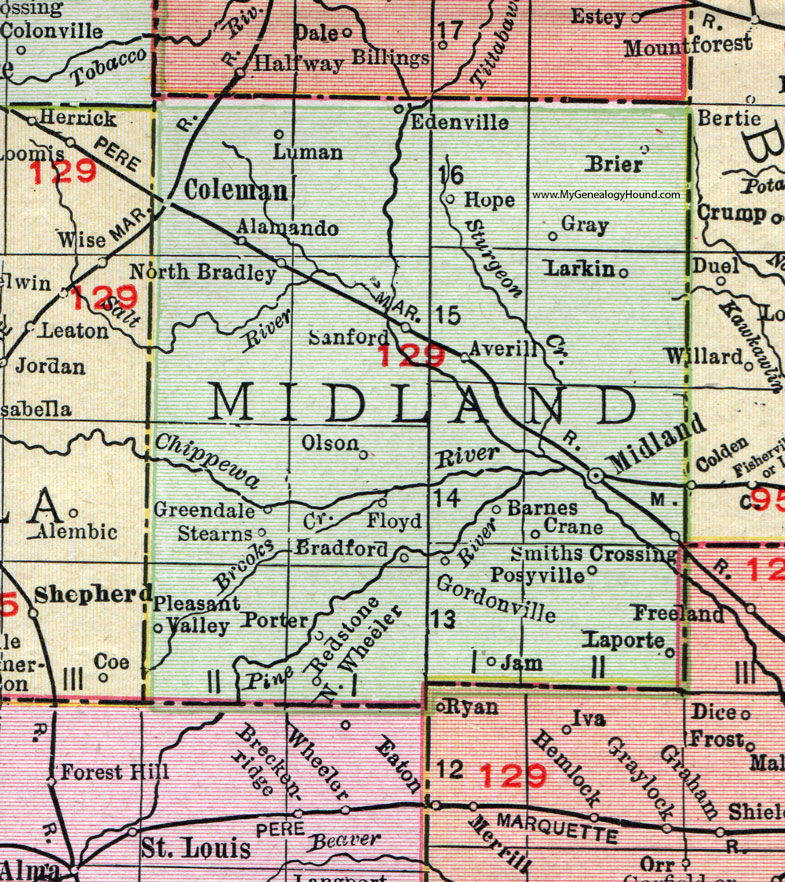 Midland County Michigan 1911 Map Rand Mcnally Coleman Sanford